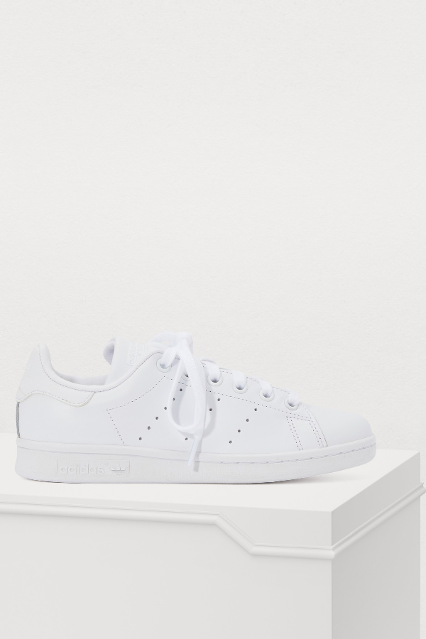Adidas Originals Leather Stan Smith Sneakers In Ftwbla/Ftwbla/Ftwbla