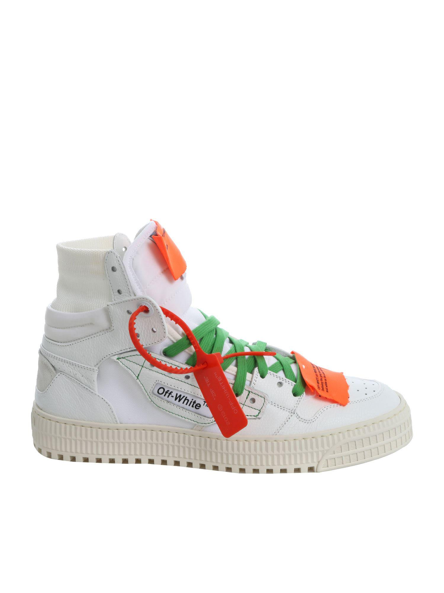 a33f4a2682a8 Off-White High Top Leather Sneakers In Bianco