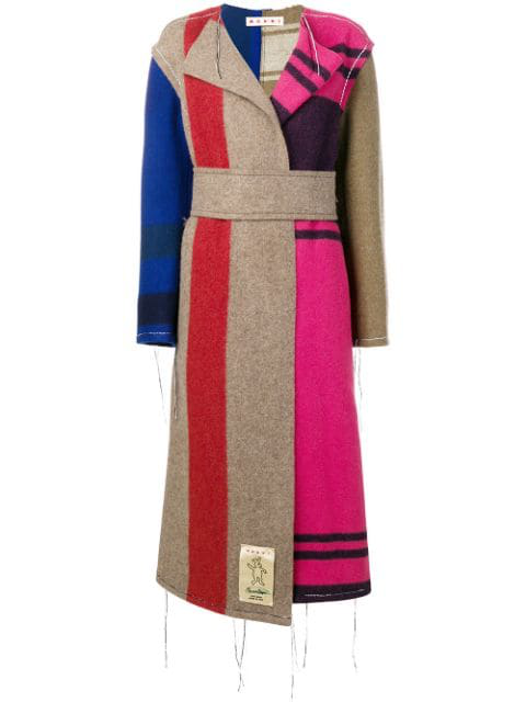 Marni Contrast Panel Unfinished Long Coat In Neutrals