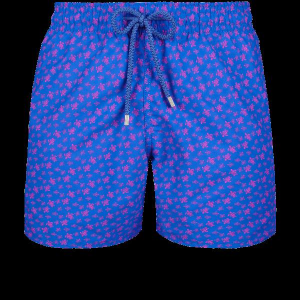 Vilebrequin Moorea Ronde Des Tortues-Print Swim Trunks In Royal Blue
