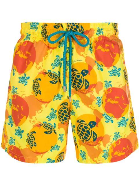 Vilebrequin Moorea Mid-Length Printed Swim Shorts In 108 Acacia