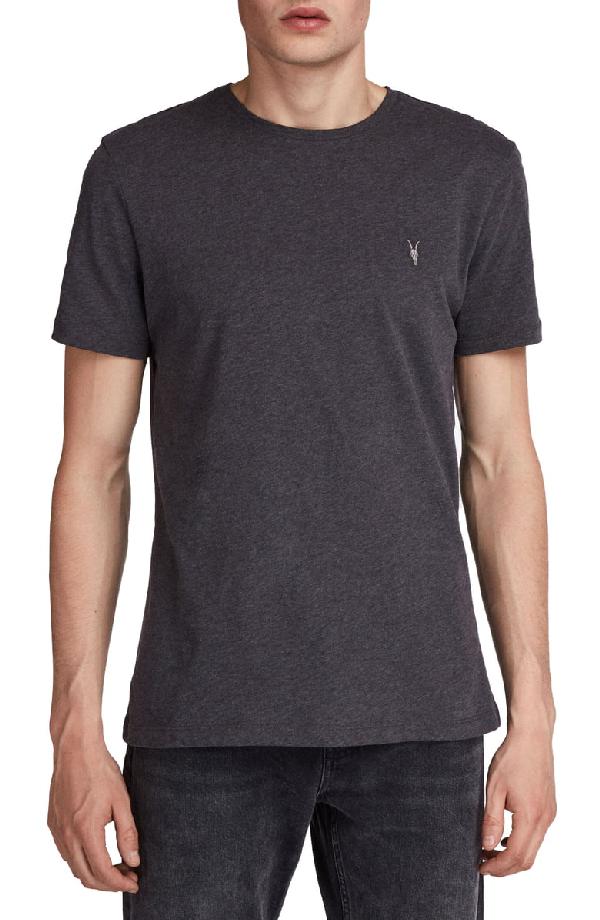 Allsaints Brace Tonic Slim Fit Crewneck T-shirt In Charcoal Marl