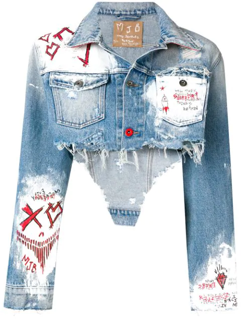 Mjb Marc Jacques Burton Cropped Painted Denim Jacket In ...