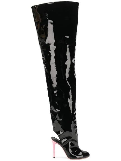 Natasha Zinko Open-heel Thigh Boots In Black