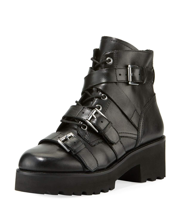 1b9d6e514cb9 Ash Razor Leather Combat Boots In Black