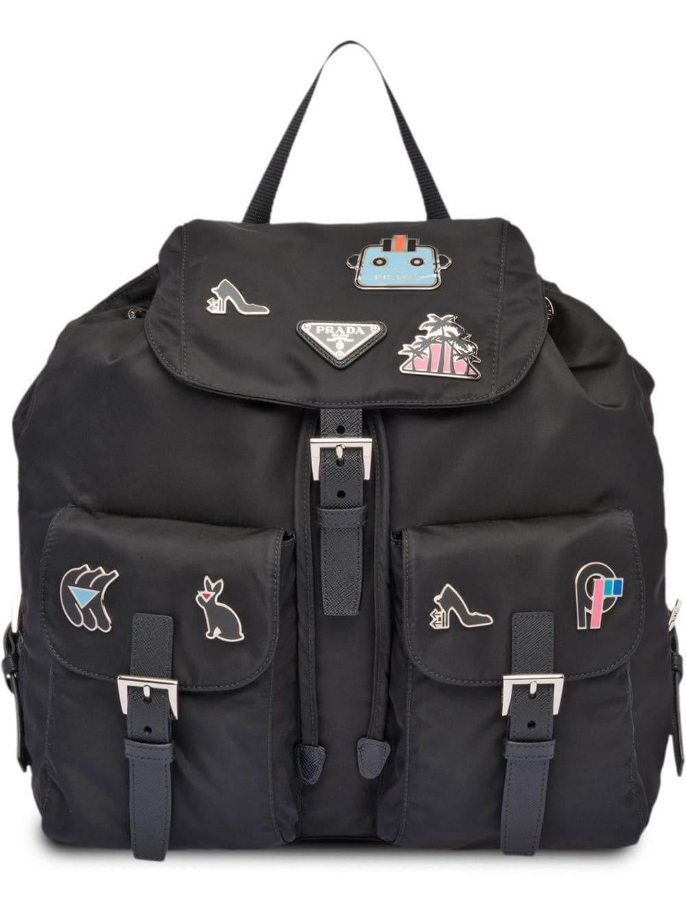 ab76bdeb3f4a87 Prada Logo Fabric Backpack - Black   ModeSens