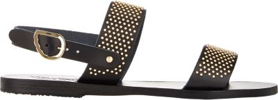 Ancient Greek Sandals 'Dinami' Studded Double Band Sandal (Women) In Black/ Gold