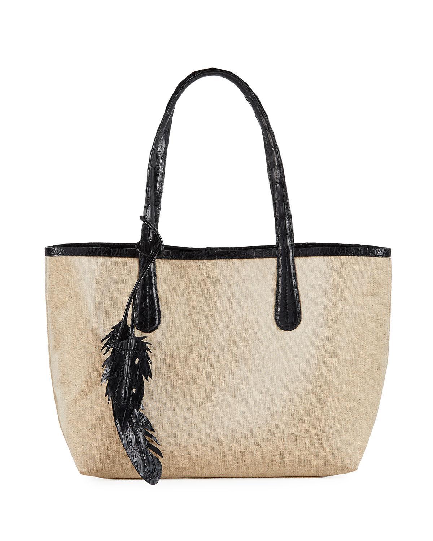 16e587f3c2a5 Nancy Gonzalez Erica Small Linen Leaf Tote Bag In Brown | ModeSens