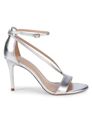 Halston Heritage Strappy Stiletto Sandals In Silver