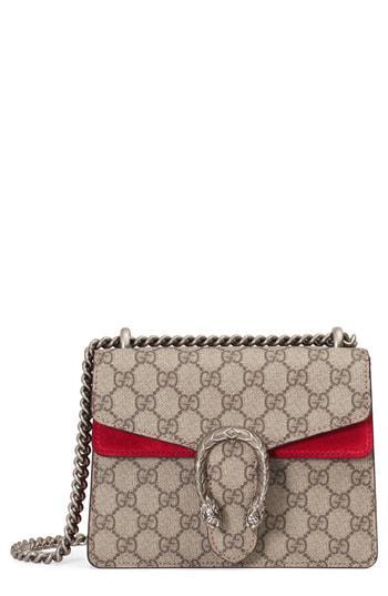ca9f864c709d Gucci Mini Dionysus Gg Supreme Shoulder Bag - Beige In Beige Ebony/  Volcanic Red