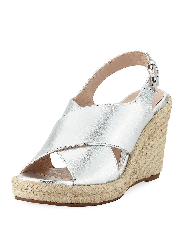 b49f8b76831b Stuart Weitzman Paris Metallic Espadrille Wedge Sandals In Silver ...