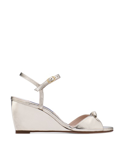 Stuart Weitzman Gloria Metallic Wedge Sandals In Silver