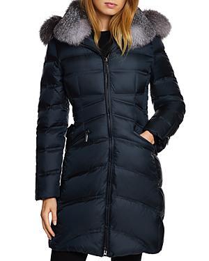 27e1a61e969 Dawn Levy Chloe Fox-Fur Trim Corset Puffer Jacket In Sapphire
