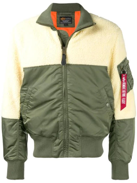 Alpha Industries Two-tone Bomber Jacket In Green