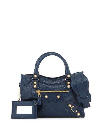Balenciaga Giant 12 City Mini Lambskin Tote Bag, Navy