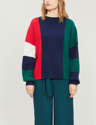 8bc0a19dec7 Hettie Panelled Ribbed Cotton And Cashmere-Blend Jumper in Nvygrnredw