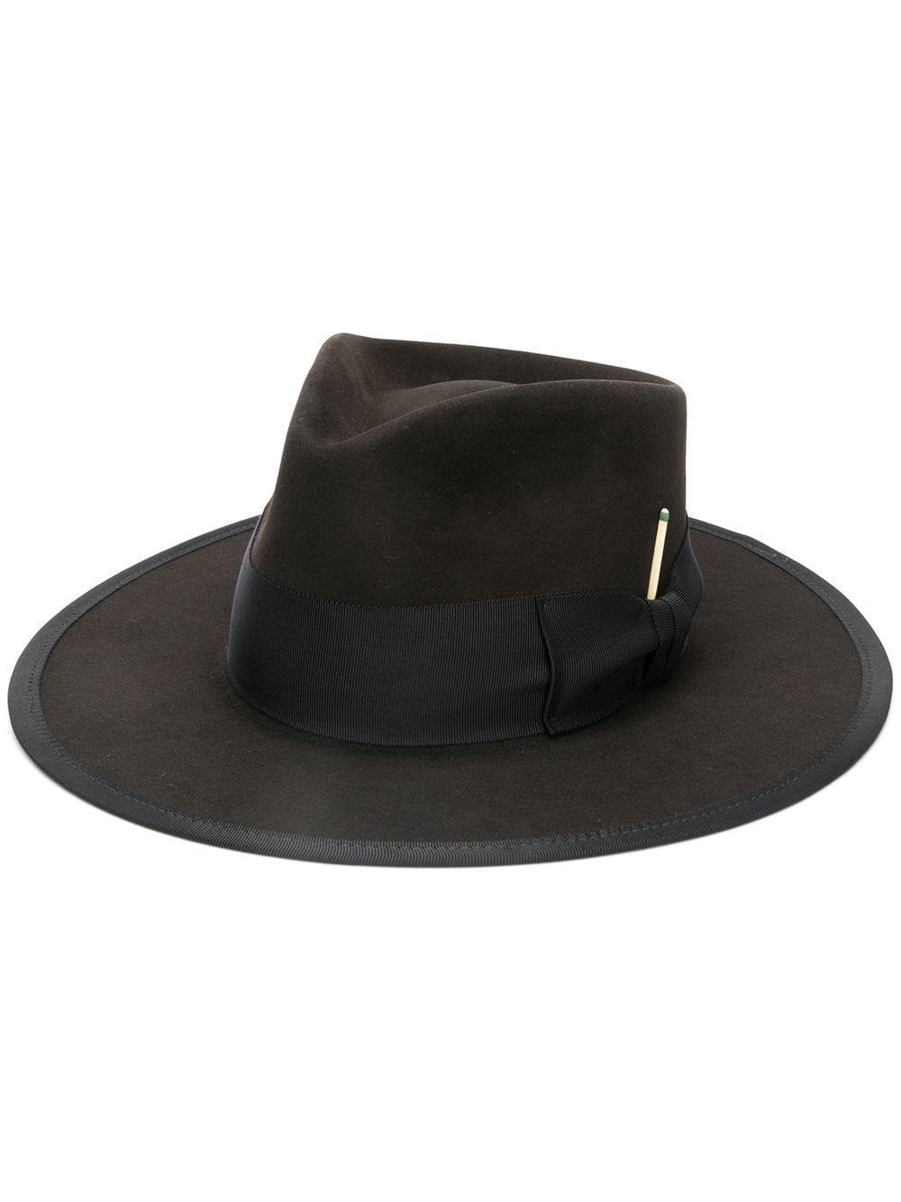 20d60f25e3997 Nick Fouquet Ribbon Fedora Hat - Black