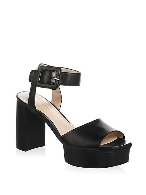 21d11e808c40 Stuart Weitzman Ankle Strap Patent Leather Platform Sandals In Black ...
