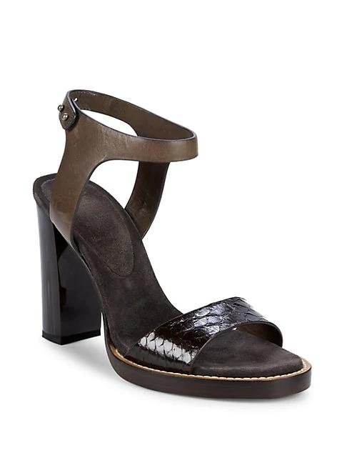 8db5167cc76a Brunello Cucinelli Leather Block Heel Ankle-Strap Sandals In Brown ...