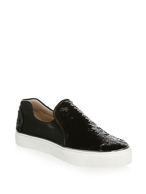 Stuart Weitzman Sequined Leather Sneakers In Black