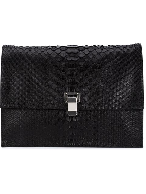 Proenza Schouler Large Python Lunch Bag Clutch In Black