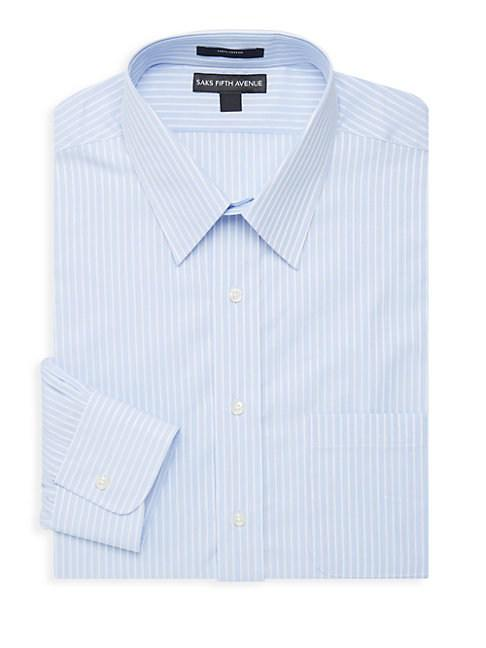Saks Fifth Avenue Pinstripe Dress Shirt In Blue