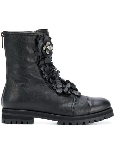Flat Black Combat Boots