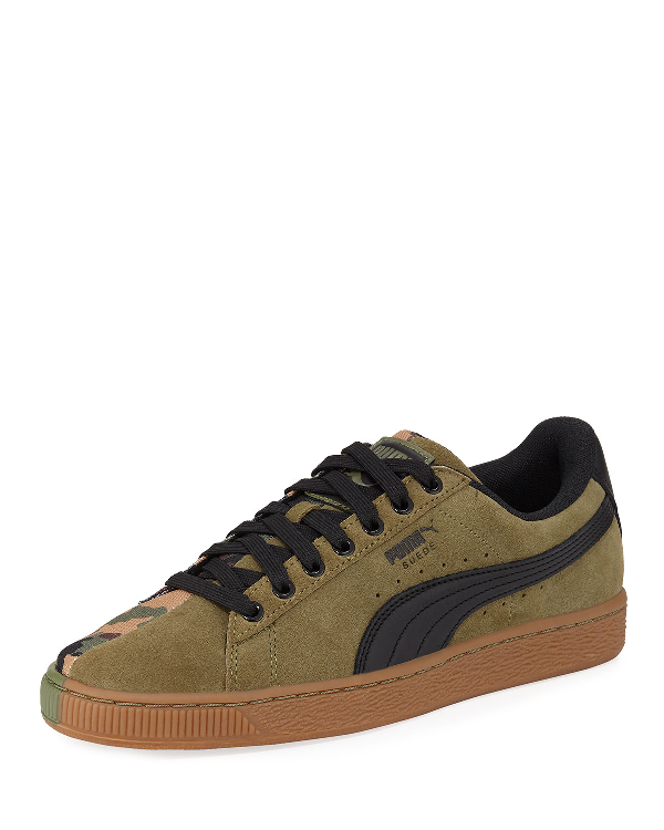 brand new 460a1 24ed2 Men's Suede Classic Split Camo Casual Shoes, Green in Olive