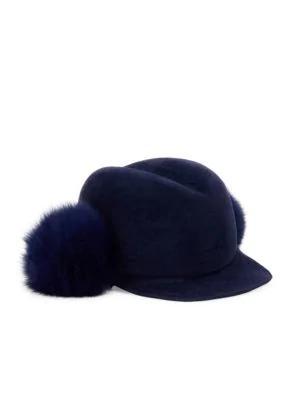 hot sale online b4c0c 2045b Lola Hats Dyed Fox Fur Pom   Velour Felt Door Knob Cap In Navy