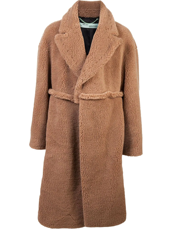 Off-white Oversized Shearling Coat In Brown