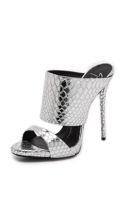 Giuseppe Zanotti Suede & Snake-Embossed Leather Sandals In Silver