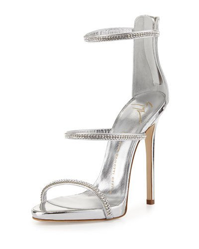 7650981fc4ec4 Giuseppe Zanotti - Mirrored Rose Gold Sandal With Crystals Harmony Sparkle  In Silver