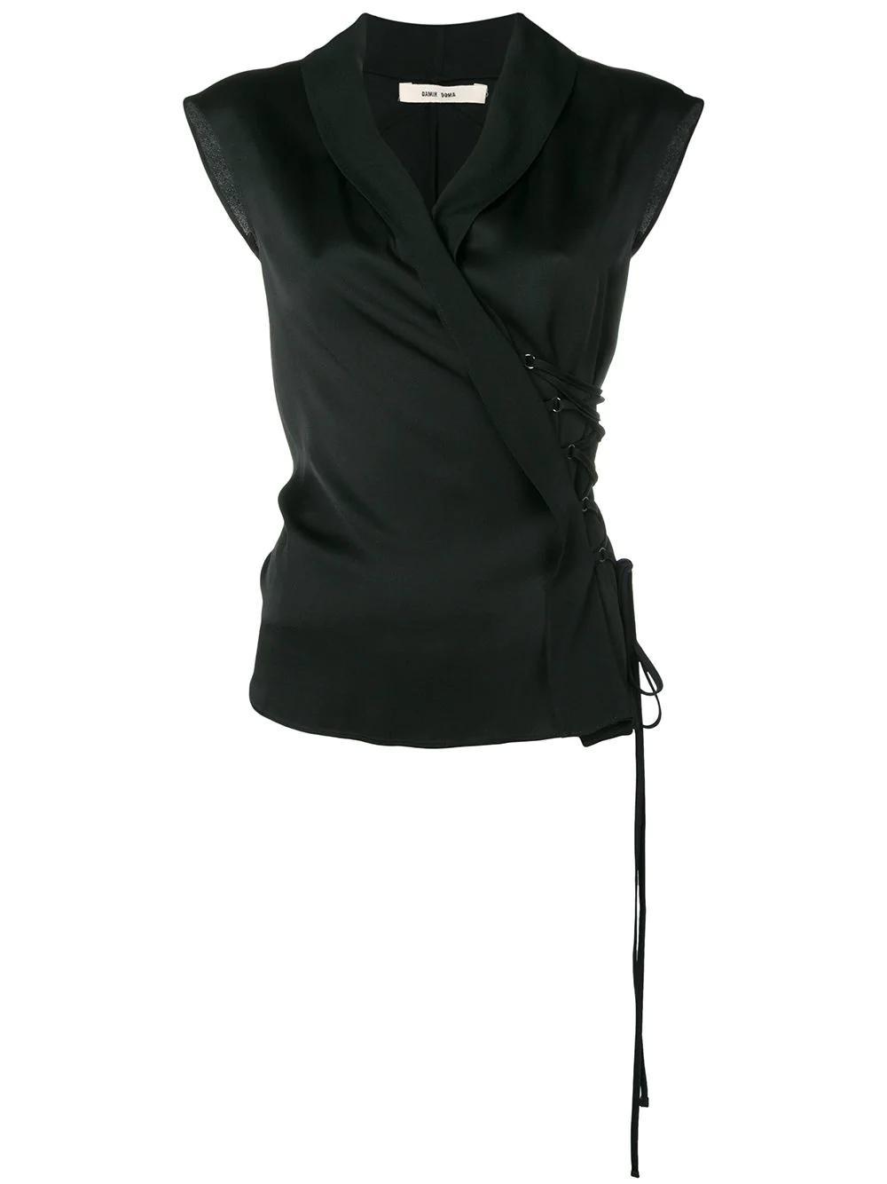 3c79761fd9444f Damir Doma Sleeveless Wrap Blouse - Black | ModeSens