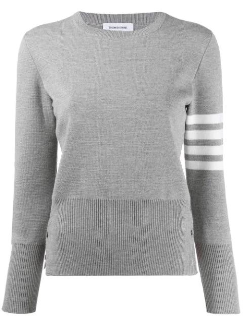Thom Browne 4-bar Milano Stitch Silk Pullover In Grey