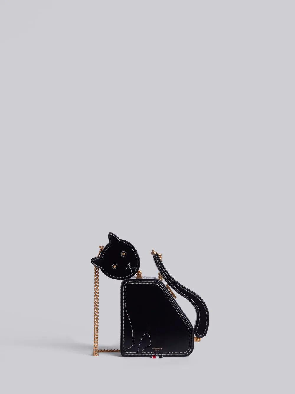 Thom Browne Cat Icon Calfskin Clutch Bag In Black