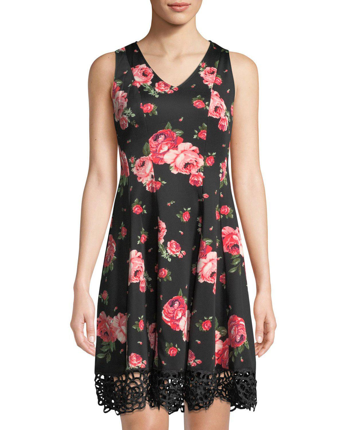 49e710772d936c Donna Ricco Floral-Print Crochet-Hem Fit-&-Flare Dress In Black ...