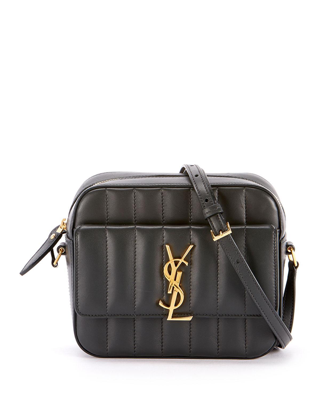 f52286280ada Saint Laurent Vicky Medium Ysl Monogram Quilted Camera Bag In Noir ...