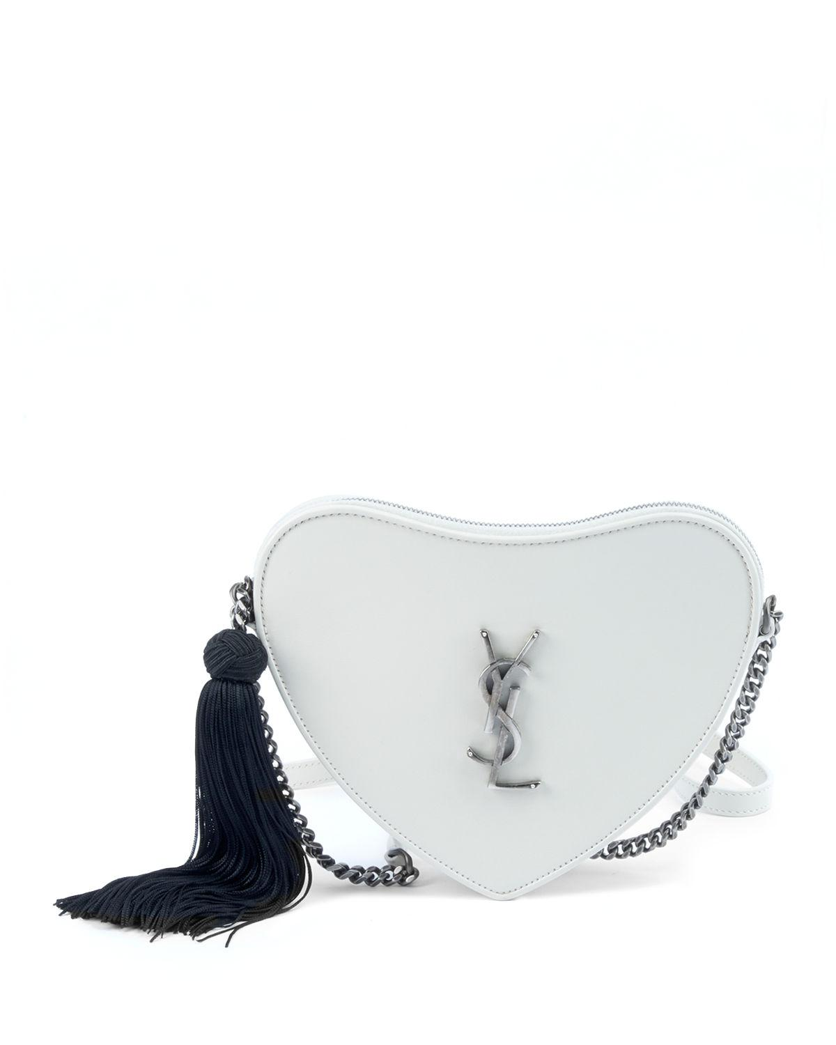 Saint Laurent Sac Coeur Monogram Ysl Heart Tassel Box Clutch Bag ... 507bf489ba3fc