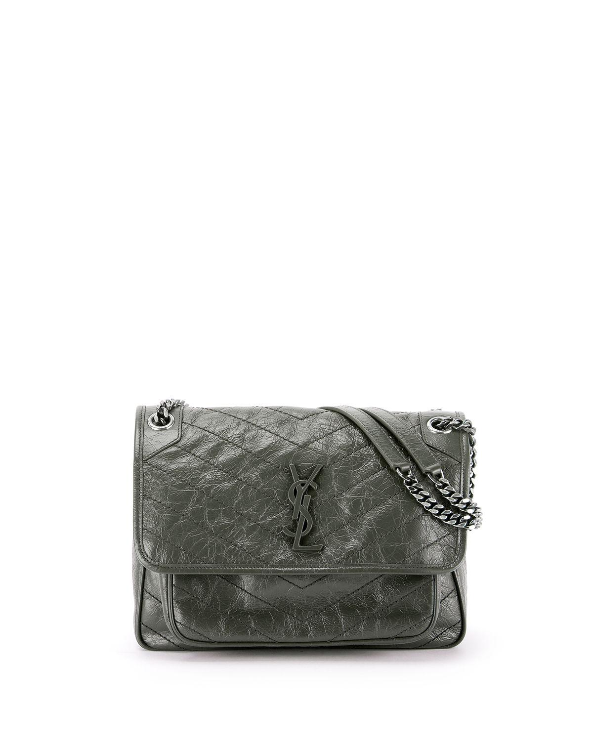 3eac8e84fa Saint Laurent Niki Medium Monogram Ysl Shiny Waxy Quilted Shoulder Bag In  Dark Green