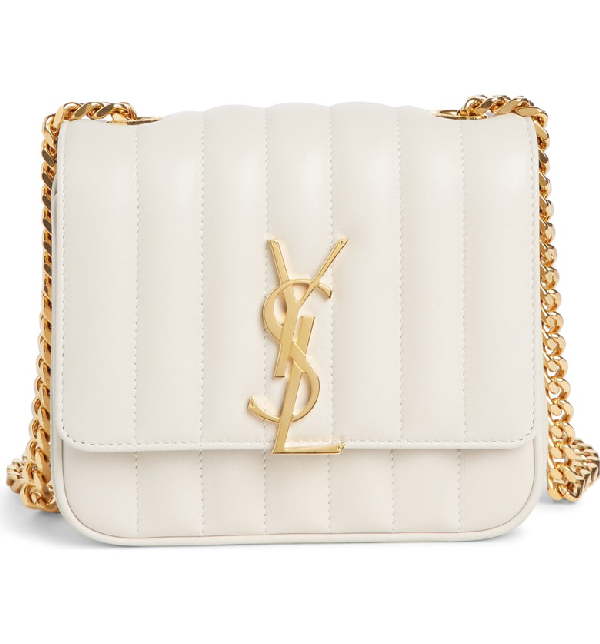 1c25abbb10cf Saint Laurent Vicky Monogram Ysl Small Quilted Leather Crossbody Bag In  Cremasoft