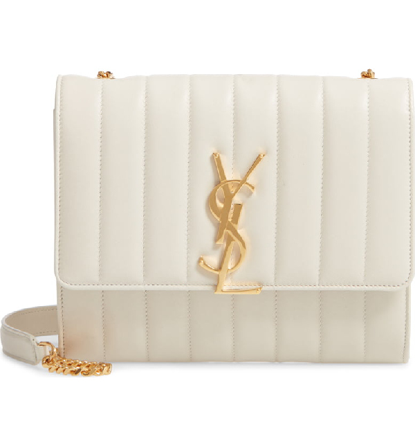 3d9dd59a9 Saint Laurent Vicky Monogram Ysl North/South Quilted Leather Wallet On  Chain In White