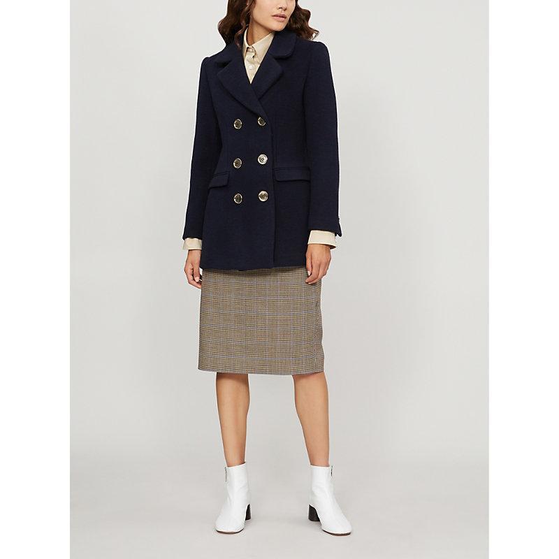 Claudie Pierlot Guimauve Double-Breasted Wool-Blend Coat In Navy