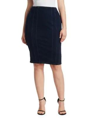 c33a2d1bf7 Ashley Graham X Marina Rinaldi Canada Jersey Denim Pencil Skirt In Dark Navy