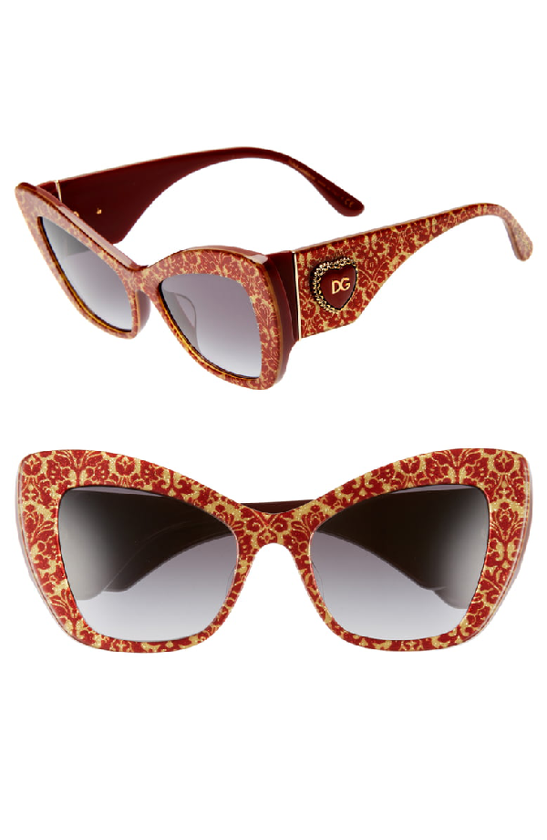 894e5eb721bd Dolce & Gabbana Sacred Heart 54Mm Gradient Cat Eye Sunglasses - Red Gold Grey  Gradient