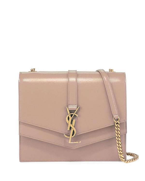 87845c5bd4a Sulpice Medium YSL Monogram Leather Triple V-Flap Crossbody Bag, NEUTRAL. Saint  Laurent smooth ...