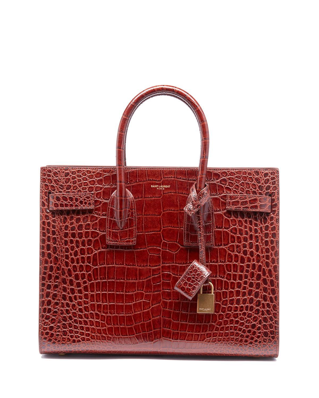 Saint Laurent Sac De Jour Baby Crocodile-Embossed Leather Satchel Bag In  Brown 23a30d2911157
