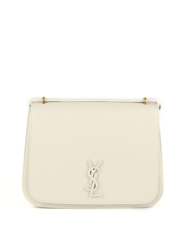 5becd50b73c Saint Laurent Spontini Large Monogram Ysl Leather Crossbody Bag In White