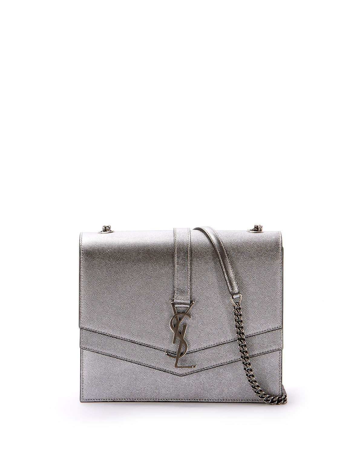 d378a1d5648 Saint Laurent Sulpice Medium Ysl Monogram Triple V-Flap Metallic Leather  Crossbody Bag In Silver