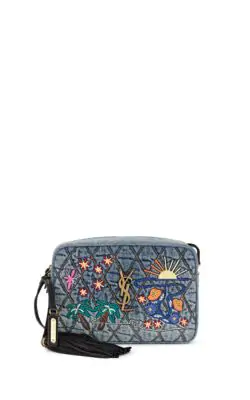 a55385778c Lou Ysl Monogram Quilted Embroidered Denim Crossbody Camera Bag in Mid Denim