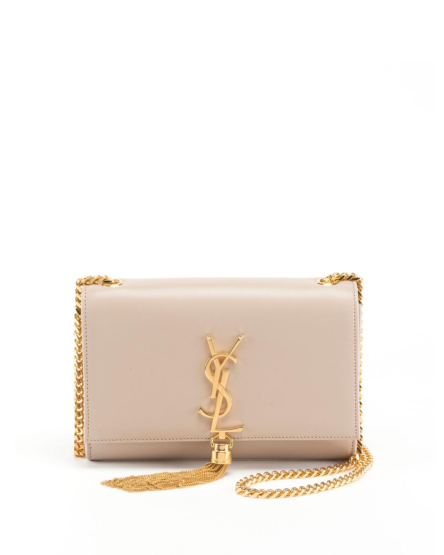 cc9d57af1f Saint Laurent Kate Monogram Ysl Small Tassel Shoulder Bag With Golden  Hardware In Natural Brown